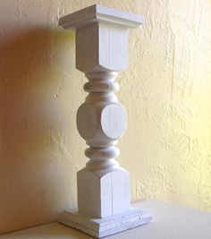 Shabby Chic White Cottage Style Wood Pedestal Candle Holder. Cottage Design.