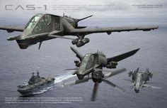 CAS-1 Dual Configuration Close Air Support Platform by Tom Alfaro via http://conceptships.blogspot.com/
