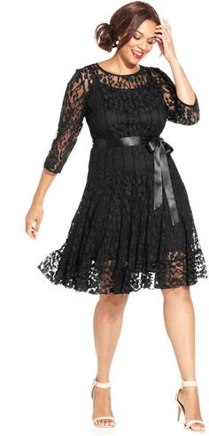 MSK Illusion Floral Lace Dress #plussize