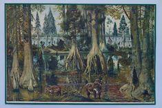 Rare antique school art poster Primeval forest from famous Czech artist Z. Geometric Art, Rare Antique, Art School, Picture Wall, Wall Art Decor, Contemporary Art, Retro, Antiques, Artist