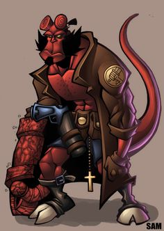 sams hellboy colored by shalomone.deviantart.com on @deviantART