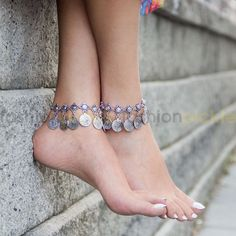 An elegant anklet that is perfect for the summer. Wear it at the beach or with your maxi dress or by the pool. Can also be worn as a bracelet. Style Tip: Its all about accessorizing. Make any outfit g Ankle Jewelry, Ankle Bracelets, Anklet Designs, Silver Anklets, Gorgeous Feet, Sexy Toes, Female Feet, Women's Feet, Bare Foot Sandals