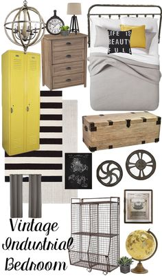 Room Design Board : Vintage Industrial Bedroom Vintage Industrial Bedroom Design Plan - This Design Board includes industrial decor that can easily be incorporated into rustic farmhouse decorating or urban industrial Bedroom Vintage, Vintage Industrial Bedroom, Industrial Interior Design, Vintage Home Decor, Urban Industrial, Industrial Decorating, Industrial Style, Industrial Apartment, Industrial Lamps