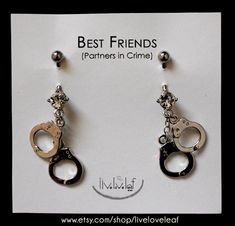 Silver Handcuffs Belly rings - Set of 2 Matching belly button rings - Body Jewelry for you and your Partner in Crime / Best Friend / Bff   by LiveLoveLeaf  #partnersincrime #bestfriends