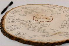 Custom Made Commentaires Livre - mariage signe - gravée tranche de bois circulaire. Parfait pour le rustique ou mariages de pays bas -Ex Large 11
