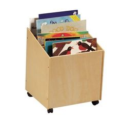 The Guidecraft Big Book Storage Box is contemporary for playroom storage. This big book storage box features centre dividers for separating items, casters for easy mobility and a handy size for both adults and children to gain access. The Guidecraft Big B Big Book Storage, Storage Box On Wheels, Storage Bins, Storage Ideas, Rolling Storage, Record Storage, Kids Storage, Smart Storage, Kitchen Storage