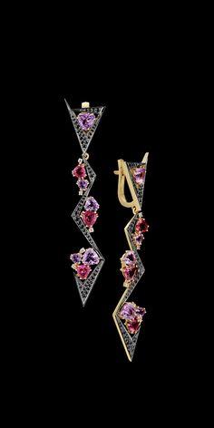 Master Exclusive Jewellery, Kaleidoscope collection, tourmalines, amethysts and diamonds ear pendants