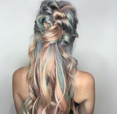 Blonde Hair with Half up-Half down Braided Hairstyle with Pastel Pink, Purple & Blue Highlights/Streaks