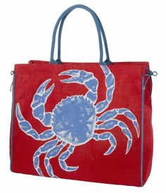 Blue & Red Cape Cod Crab Print Jute Tote #uniquevintage