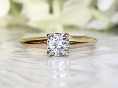 Vintage Engagement Ring 0.25ct Illusion Setting Classic Diamond Ring 14K Two Tone Gold Diamond Wedding Ring Size 7!
