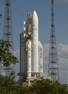 Europe's Ariane 5 rocket moved to the launch zone in French Guiana on Wednesday, loaded with a pair of telecommunications satellites to serve Eutelsat, Qatar and the Indian Navy.  The launcher, powered by twin solid rocket boosters and a hydrogen-fueled core engine, will lift off at 2030 GMT (4:30 p.m. EDT). The flight has a 50-minute launch window.  It will take about a half-hour to deliver the Eutelsat 25B/Es'hail 1 and GSAT 7 payloads into geostationary transfer orbit.
