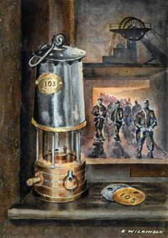 The Last Shift by Dennis Wilkinson Lamp Tattoo, R Tattoo, Coal Miners, Social Art, My Old Kentucky Home, Art Uk, Your Paintings, Stone Painting, Collage Art