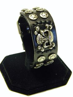 Leather Cuff Wristband with Skull by CreationsbyDreamLady on Etsy, $25.00