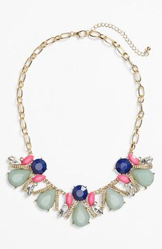 Free shipping and returns on BP. Stone Cluster Frontal Necklace (Juniors) at Nordstrom.com. Colorful stones, sparkling crystals and goldtone details polished to a high shine define this standout statement necklace.