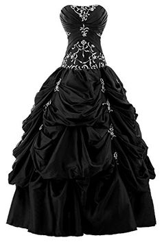 Sunvary Fashion Applique Ball Gown Prom Quinceanera Dresses Long Pageant Dance Formal Gowns- US Size 2- Black