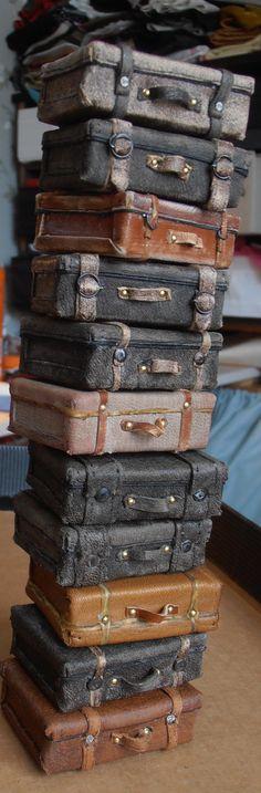miniature suitcases 1:12 scale by Erja Helander