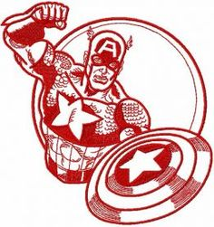 Captain America sketch embroidery design. Machine embroidery design. www.embroideres.com