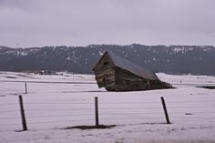 Slouching wooden shed in the snow.  | Print your professional photography at http://prolabdigital.com! Offering prints on aluminum, acrylic, & bamboo.