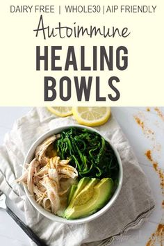 Autoimmune Healing Bowls Autoimmune Healing Bowls The RESTART Program therestartprog Entrees Loaded with dark leafy greens lean protein turmeric and healthy avocado these nbsp hellip Clean Eating, Healthy Eating, Autoimmune Diet, Anti Inflammatory Recipes, Healthy Nutrition, Child Nutrition, Healthy Food Blogs, Paleo Food, Frases