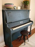 Today I painted my piano.  I'm working on redecorating my dining room, and this beastly piano was just so very unsightly.  So I thought, I...