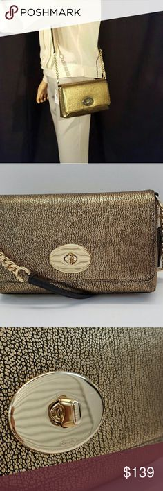NWT Coach Gold Metallic Pebble Leather Crossbody Fabulous Coach Crossbody Coach Bags Crossbody Bags