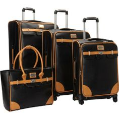 Amazon.com: Adrienne Vittadini London Bridge 4 Piece Spinner Luggage Set (Brown): Clothing