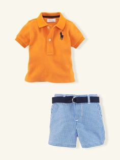 Ralph Lauren Layette Boy, Gingham Short Set in Sun Orange. An adorable polo-shirt-and-short set is crafted in classic cotton mesh and preppy gingham.
