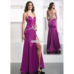 Spaghetti Straps Mermaid Sweetheart Crystal Sash Satin Prom Dress PD34403 at belloprom.com
