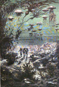 """Illustration d'une #édition de 1871 de """"Vingt Mille Lieues sous les mers"""", roman d'aventures de Jules #Verne qui est le cinquième livre le plus traduit au monde. Des hommes explorent les fonds marins, des colonie de #méduses au dessus de leur t^te #numelyo #océan #bestiaire"""
