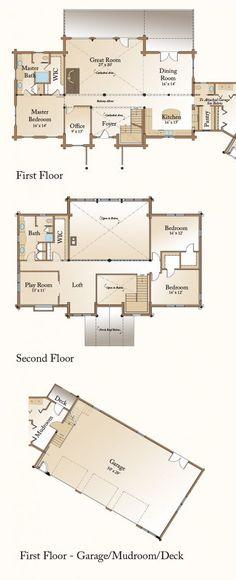 Rockville Log Home Floor Plan First