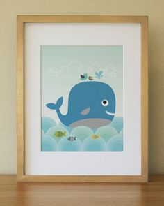 Whale . Baby Nursery Wall Art . Children Wall Art. $20.00, via Etsy.