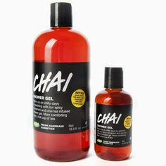 "Chai Shower Gel: ""Warm up on chilly days by washing with our spicy cinnamon and chai tea infused shower gel. More comforting than a hot cup of tea"""