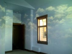 How to paint a realistic cloud mural (wall and ceiling instructions referenced)