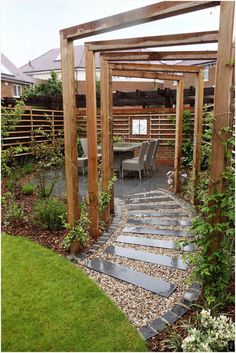 Stepping stones, a pergola, wall sculpture and interesting planting provide thes. Stepping stones, a pergola, wall sculpture and interesting planting provide these clients with a garden they are delighted with. By Rhoda Maw Garden D. Pergola Garden, Diy Pergola, Pergola Plans, Backyard Patio, Backyard Landscaping, Pergola Kits, Wood Pergola, Modern Pergola, Backyard Ideas