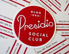 Identity for the Presidio Club.designed at Mucca Design cd: Matteo Bologna d: Christine Celic Strohl Web Design, Retro Design, Logo Design, Letterhead Design, Print Design, Typographic Design, Graphic Design Typography, Packaging Inspiration, Vintage Poster
