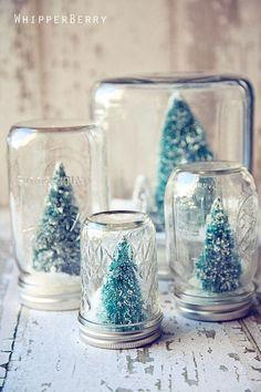 Super cute DIY Christmas craft idea: put mini Christmas trees in mason jars.