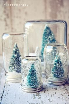 Mini Christmas trees in mason jars.