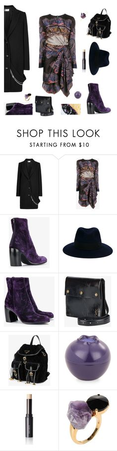 """Blueberry Pie"" by sue-mes ❤ liked on Polyvore featuring Lanvin, Etro, Ann Demeulemeester, Maison Michel, Yves Saint Laurent, Prada, Tony Moly, Decorté and Marni"
