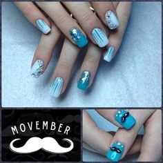 16. Give a thumps-up. | 29 Movember Nail Art Ideas Spring Nails, Summer Nails, Mustache Nail Art, Turquoise Nail Art, Movember, Fall Nail Designs, Accent Nails, Nail Art Galleries, Acrylic Nails