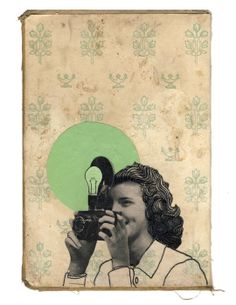 Helen - original collage on book cover