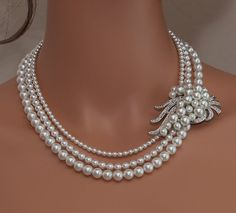 Clairance perle blanche et cristal strass bandeau Pearl - 353