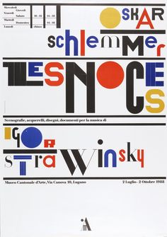 Bruno Monguzzi, poster artwork Schlemmer designs for Igor Strawinsky's Les Noces. Museo Cantonale d'Arte, Lugano, Switzerland, c.1987