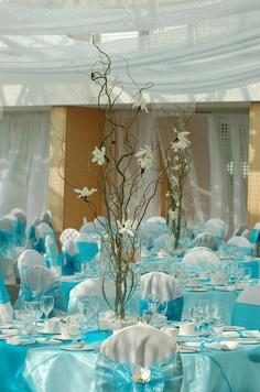 Blue decor, linens, sash www.myfloweraffair.com can create this beautiful wedding flower and linen look.