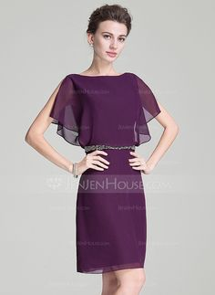 A-Line/Princess Scoop Neck Knee-Length Chiffon Mother of the Bride Dress With Beading Sequins Cascading Ruffles (008072712)