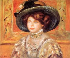Young Woman in a Blue Hat - 1900. Pierre-Auguste Renoir. Download painting.