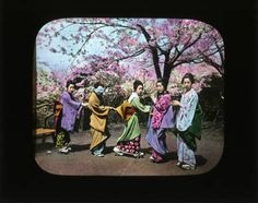 Five girls posed outside :: Japanese Lantern Slides (Dominican University)