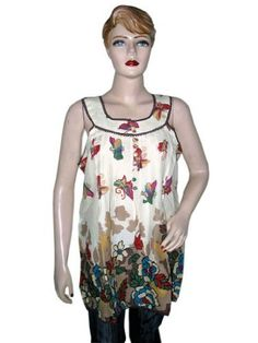 Red Green Floral Printed Sleeveless Bohemian Summer Tunic Top Womens Blouse S Mogul Interior, http://www.amazon.com/dp/B008JO6R6A/ref=cm_sw_r_pi_dp_T6u.pb14P2094