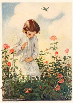 """Jessie Willcox Smith: """"A Girl Observing A Spider Web Among Rose Bushes"""""""