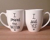 His and hers engagement mugs, I popped the question, I said yes mug, mug for him and her, bridal shower gift, engagement gift