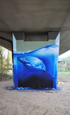 Graffiti by Smates in In Brussels, Belgium  painting of deep sea shark, dark and bright color create the amazing perspective of deep sea or in the water. This kind of 3D trick can be the background of various windows to create depth and function, especially the place that have not enough display space.
